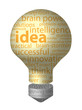 IDEAS Tag Cloud (3d light bulb solutions tips eureka innovation)