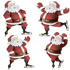 A set of skating Santas