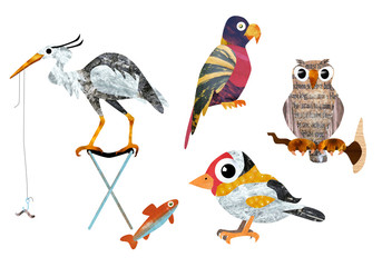 textures collage stylised birds