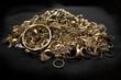 Leinwandbild Motiv Pile of scrap gold jewelry