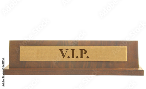 Isolated name plate with VIP text