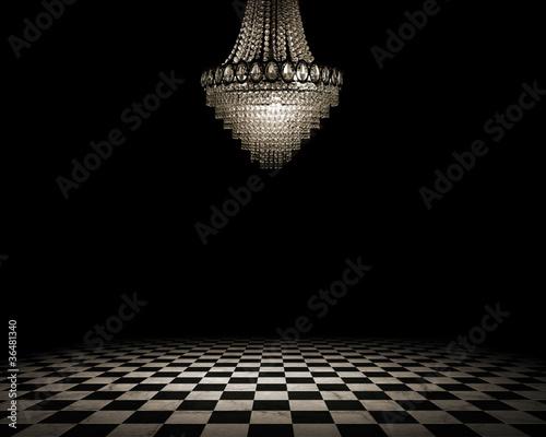 Grunge empty interior with checkered marble floor - 36481340
