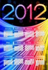 Colorful 2012 Calendar on Black Background. Rainbow Colors