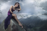 Fototapety Perfect brunette beauty on a mountain