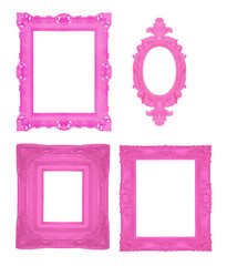 Set of pink ornamental frames
