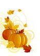 Autumn background. Vector of pumpkins and leaves