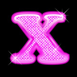 Letter X girly pink bling bling