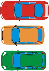 The main types of cars top view
