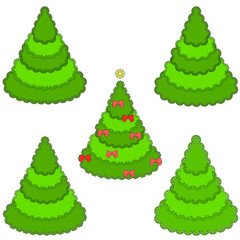 Set of lacy christmas trees