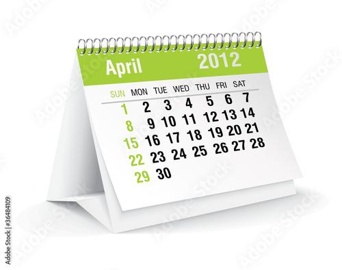 april 2012 desk calendar