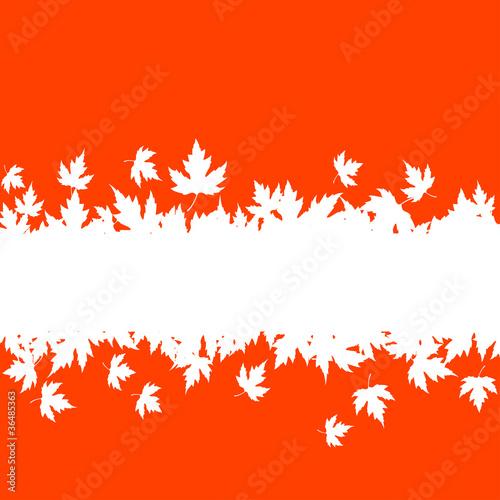 剪贴画矢量; autumn falling leaves background with blank