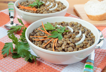 Soup of lentils with carrots and onions