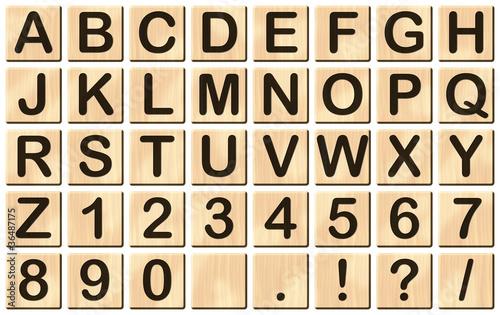 Buchstaben-Spielsteine (Illustration mit Lichteffekten)