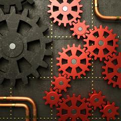 Red gears steampunk machine