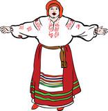 tlustá žena zpívá v ukrajinské kostým a splňuje