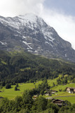 Chalets in fields beneath Eiger in Switzerland