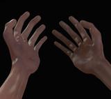 Old men hands viewed on black background
