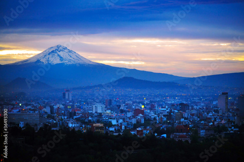 Foto op Canvas Mexico Night View of Mexico City Mountain