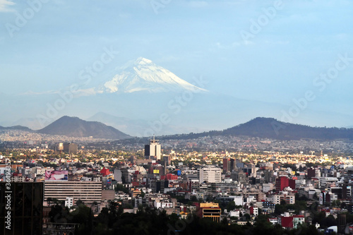 View of Mexico City and Volcano Mountain