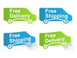 Free delivery and Free shipping labels. Vector illustration.