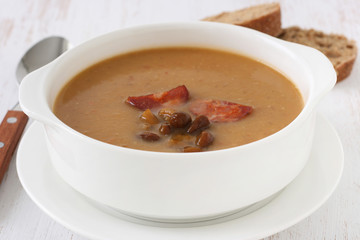 Mushroom soup with sausages