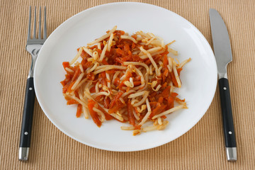 Salad carrot with bean sprouts
