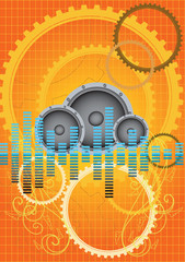 Abstract vector orange gears music background