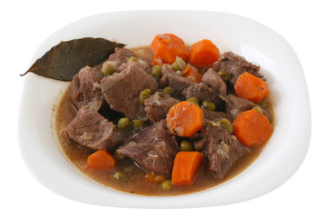 Stew beef on plate