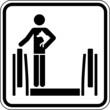 Rolltreppe Tiere auf Arm nehmen Schild Zeichen Symbol