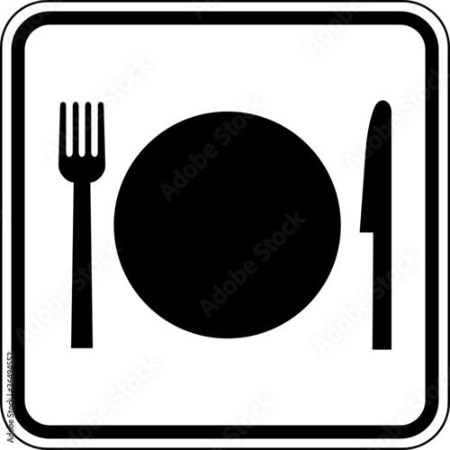 Essen Gaststätte Kantine Besteck Schild Zeichen Symbol