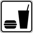 Essen Fastfood Burger Trinken Schild Zeichen Symbol