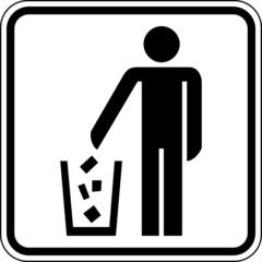 Mülleimer Entsorgung Wegwerfen Schild Zeichen Symbol