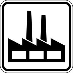 Industriegebiet Fabrik Schild Zeichen Symbol