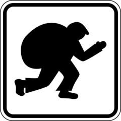Einbruch Dieb Einbrecher Verbrechen Schild Zeichen Symbol