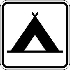 Zelten Zeltplatz Camping Schild Zeichen Symbol