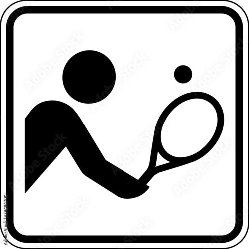 Tennis Tennisspieler Sport Schild Zeichen Symbol