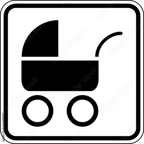 Kinderwagen Familie Baby Schild Zeichen Symbol