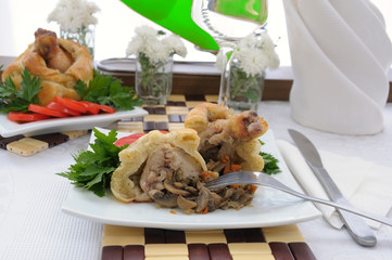 Chicken leg stuffed with mushrooms in pastry (cut)