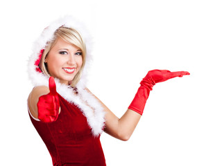 Miss Santa mit Präsentationsgeste