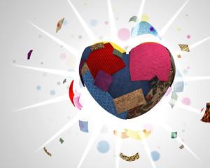 cuore fatto con pezzi di stoffa colorati