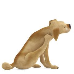 dog cartoon scratching side view