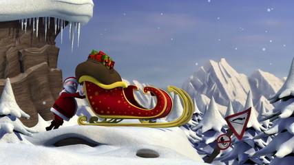 Cartoon Santa Claus using a ski jump to take off with his sleigh
