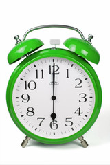 Wecker 6 Uhr / Six a clock  - grün / green