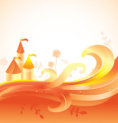 abstract fairy tale background with castle
