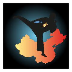 Chinese boxer symbolizing Yuan in black