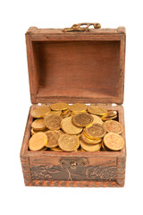 an old trunk with shiny coins isolated