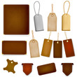 Mega set of leather labels and tags. Vector