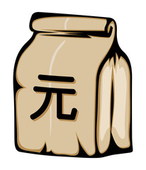 Paper money bag with Yuan (Chinese Currency) sign