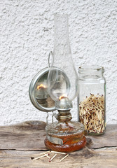 kerosene lamp with a mirror