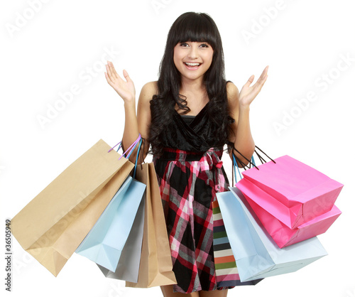 Shopping woman very excited